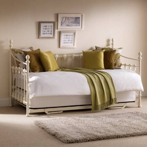 Versailles Stone White Metal Guest Day Bed and Trundle - 3ft Single images