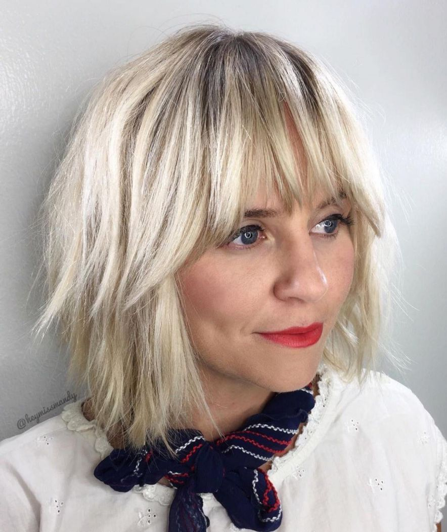 50 Super Cute Looks With Short Hairstyles For Round Faces Blonde Hair With Bangs Blonde Bob