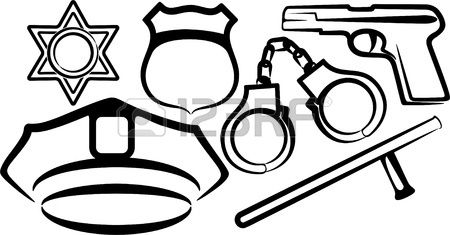 Simple Illustration With A Set Of Police Items Police Officer Hat Police Badge Coloring Pages