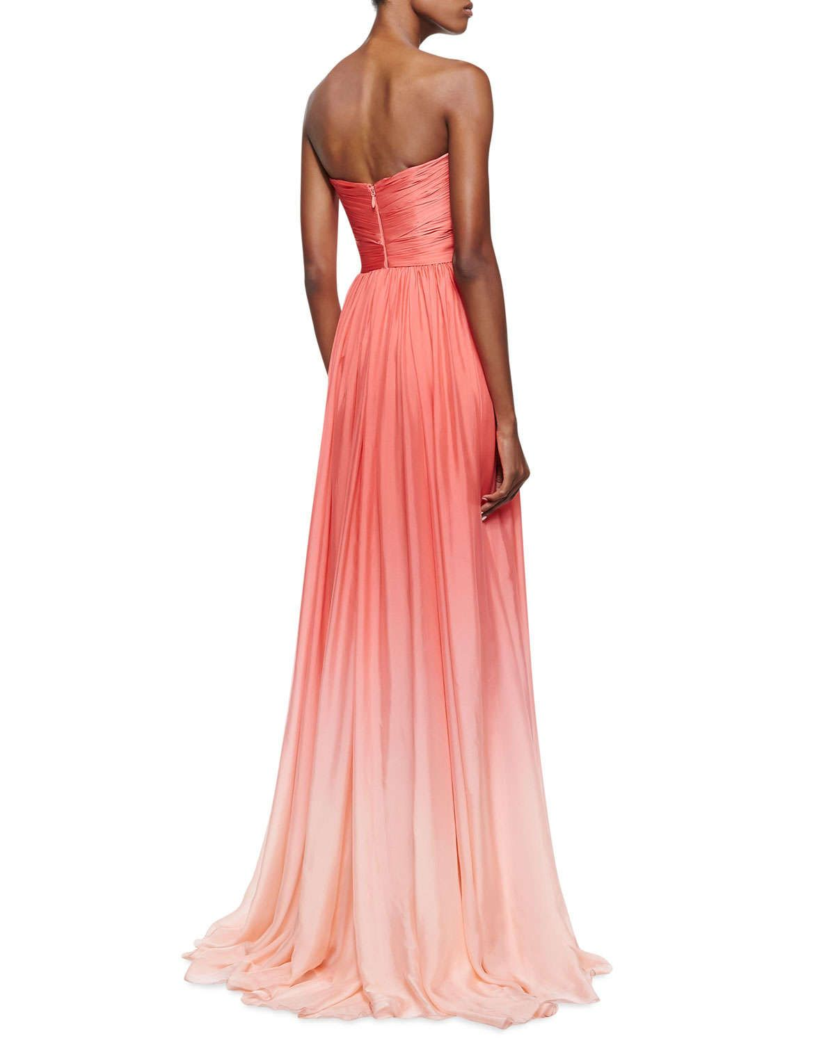 Strapless Ombre Draped Gown, Coral | Formal wear | Pinterest