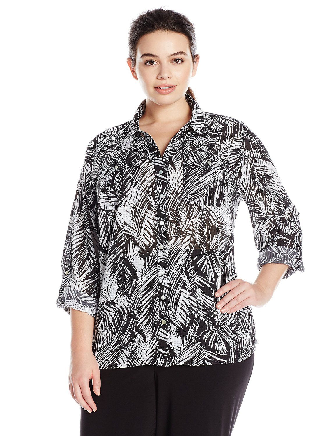 c17a6f2e259 Notations Women s Plus-Size 3 4 Roll Tab Sleeve Y Neck Printed Button Front