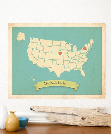 Blue USA Roots Small Customizable Map Print by Children Inspire Design on #zulily