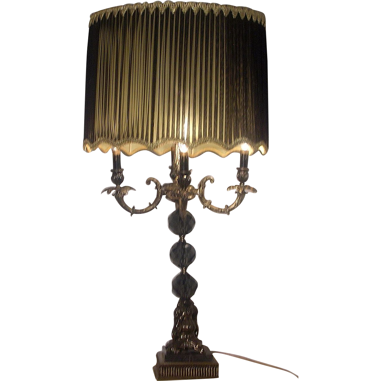 Black And Gold Hollywood Regency Table Lamp