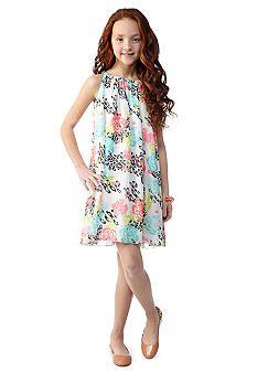 f768987f4 J Khaki  Chiffon Animal Floral Print Dress Girls 7-16 - Tessa ...