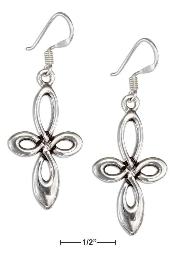 Sterling Silver Rounded Celtic Loop Cross Earrings On French Wires ...