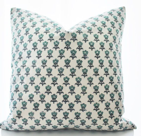 Indian Block Print Textile Pillow Cover, Ethnic, Handmade, Blue, Green, White, 18x18
