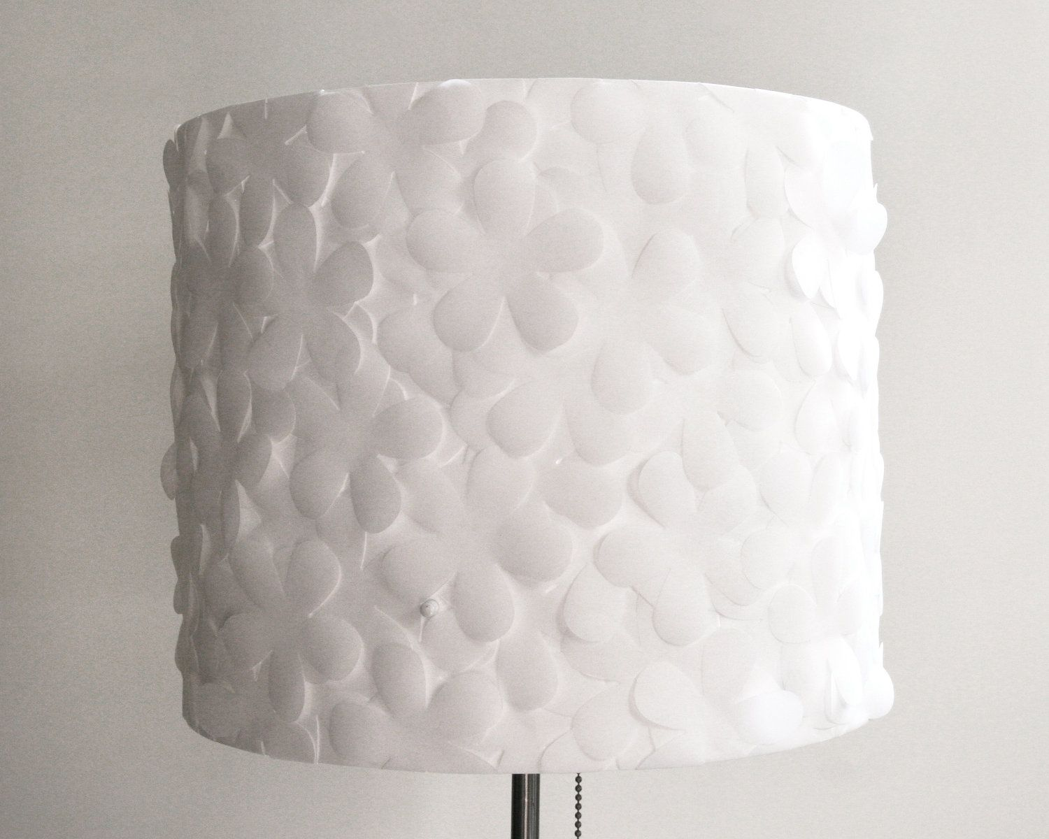 White Flower Lamp Shade Large Drum Shade Only Zipper8lighting Via