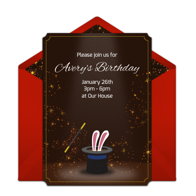 Free Birthday Invitations Adorable Magic Online You Can Personalize And Send Via Email Great For A Themed Party