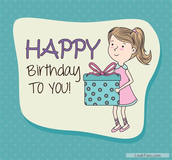 Free Cartoon Style Happy Birthday Greeting Card Template  Vector