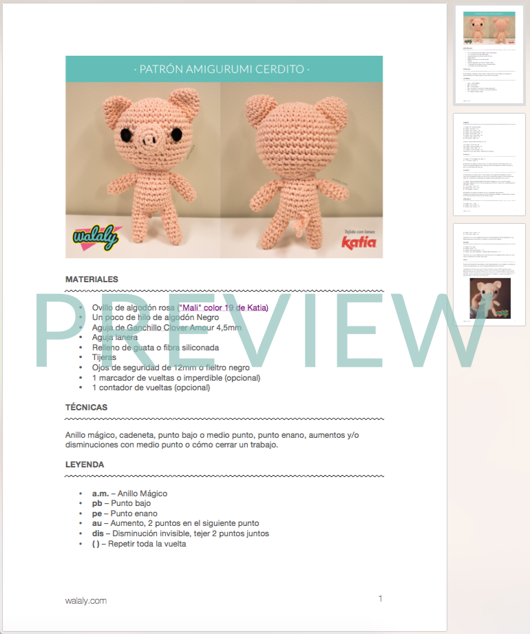 patrón cerdito amigurumi walaly | Animales. | Pinterest | Cerdo ...