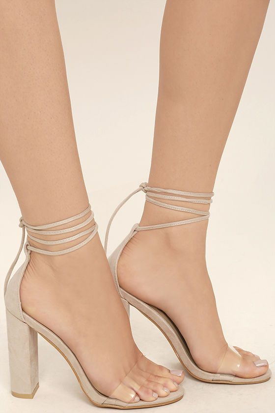 2fcf6f1c18c2 The Maricela Natural Suede Lace-Up Heels satisfy your craving for an  elegant look that s totally trend-worthy! Clear lucite forms a slender toe  strap while ...