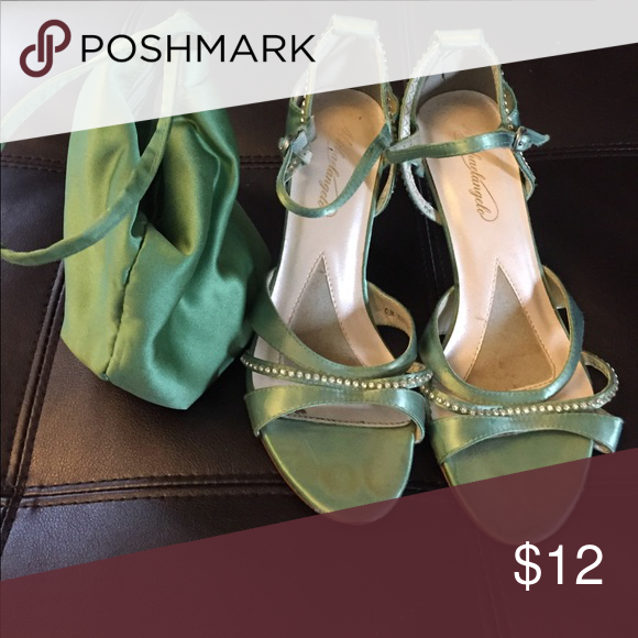 Green Shoes Size 7 And Matching Bag Used One Time For A Wedding Are