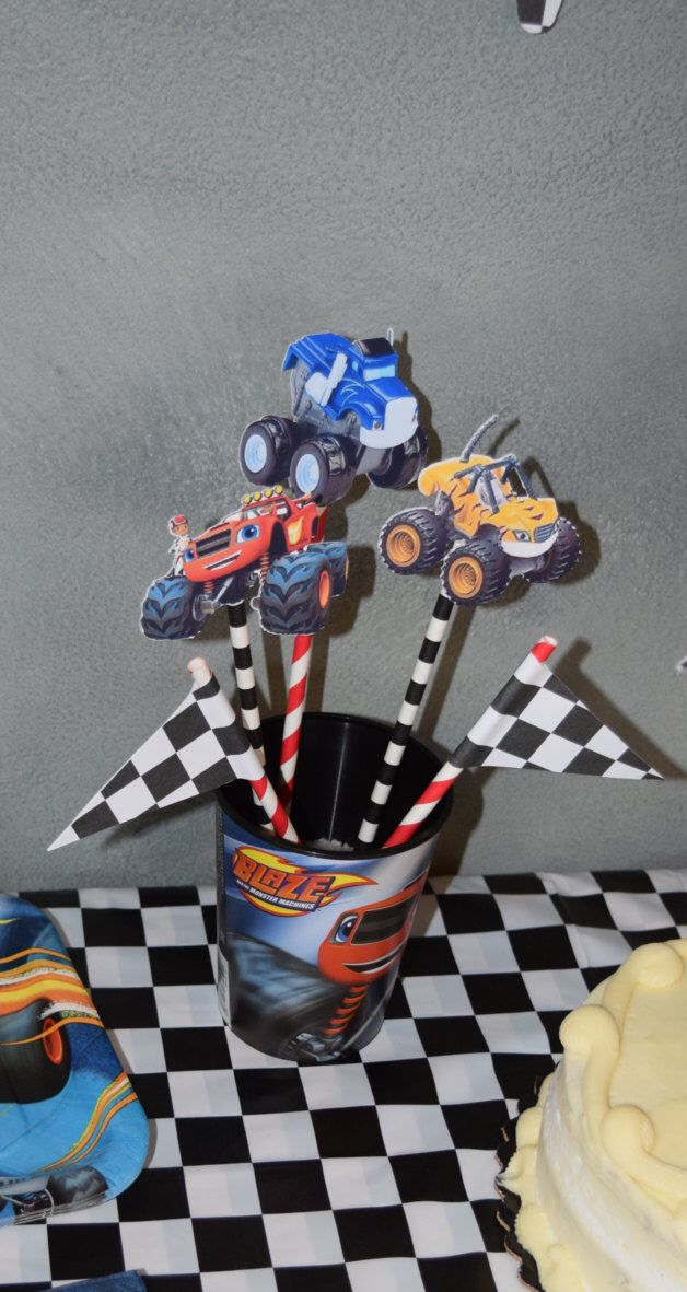 Blaze and the Monster Machines, centerpiece, party supplies, birthday, custom by wearefans on Etsy https://www.etsy.com/listing/275225942/blaze-and-the-monster-machines