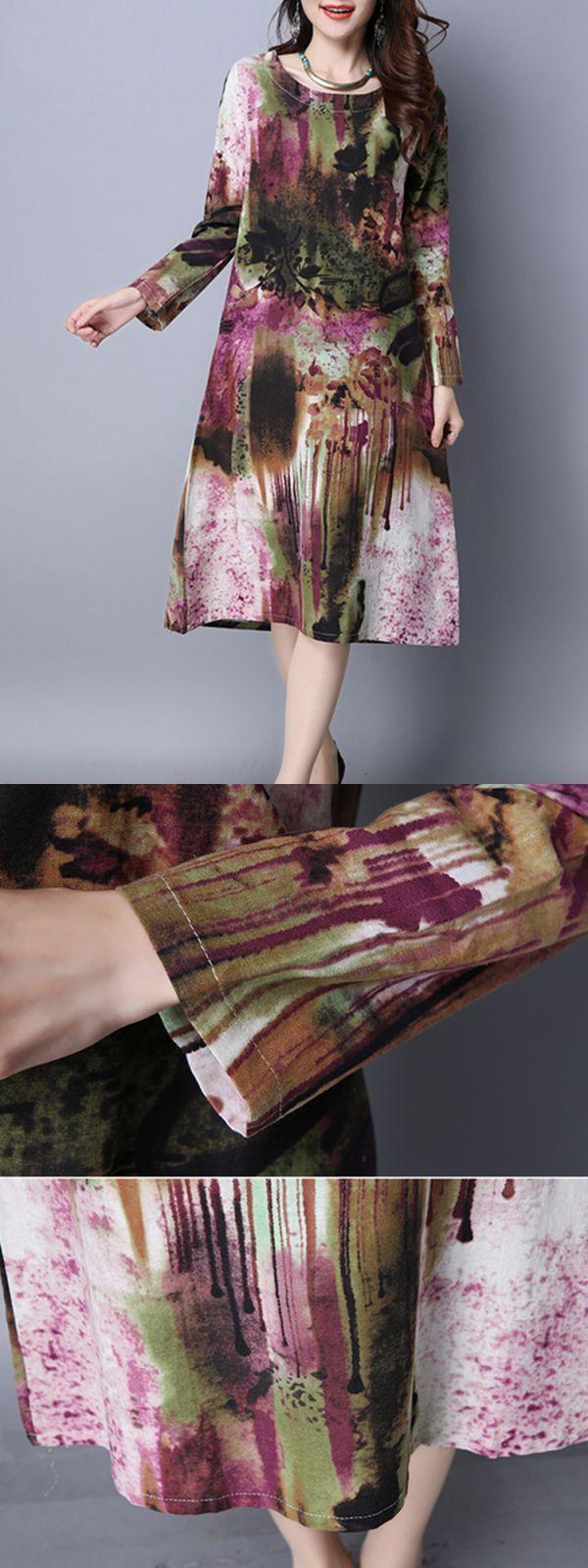 Casual dress code women vintage pocket printed dresses long sleeve o