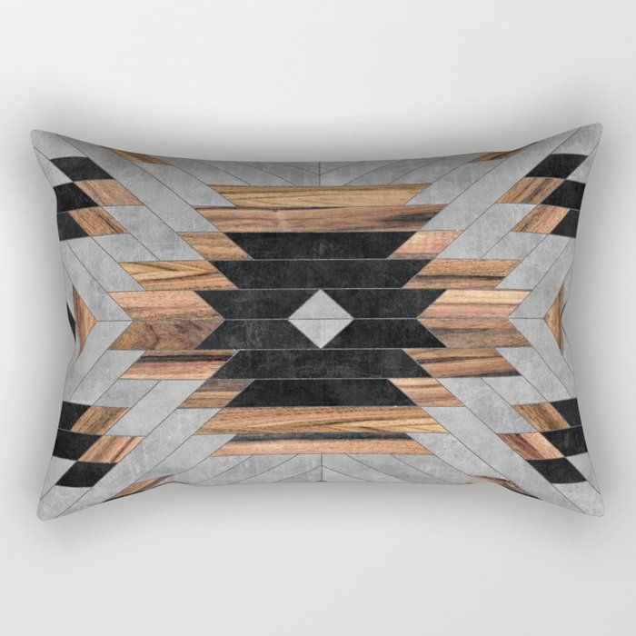Rectangular Pillow // Urban Tribal Pattern No.6 - Aztec - Concrete and Wood