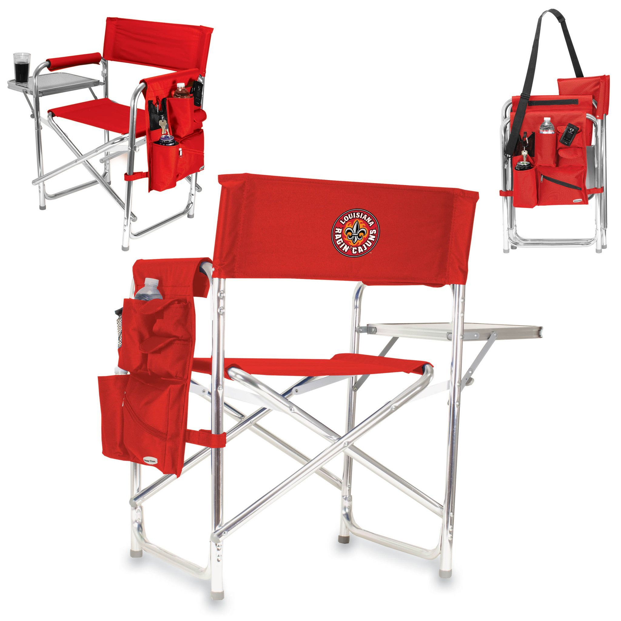 The Ragin Cajuns Sports Chair by Picnic Time is the ultimate tailgating and spectator chair. It's easy to carry being lightweight at only 10 Lbs. This portable folding chair with durable aluminum fram