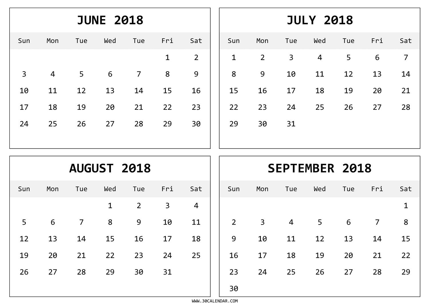 download free june to september 2018 calendar with holidays 2018