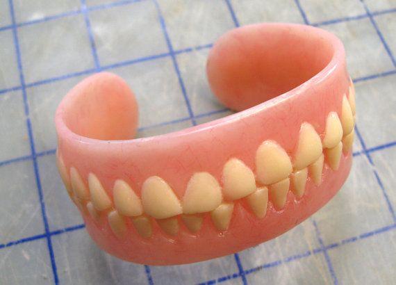 Tiny denture keychain baby teeth@