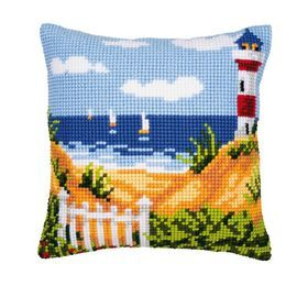 Vervaco/® On the Beach Pillow Cover or Picture Needlepoint Kit