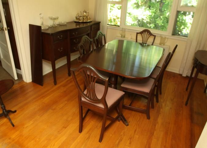 Dining Room Pads For Table Dining Room Set Including Six Chairs Having Upholstered Seats And