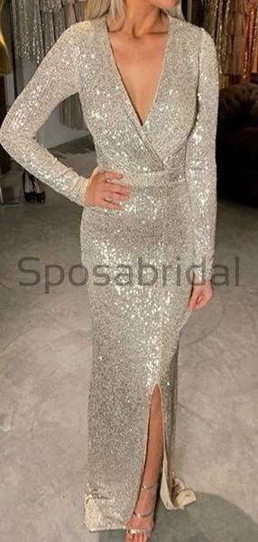 Sequin Mermaid Side Slit Long Modest Prom Dresses Pd1791 #modestprom