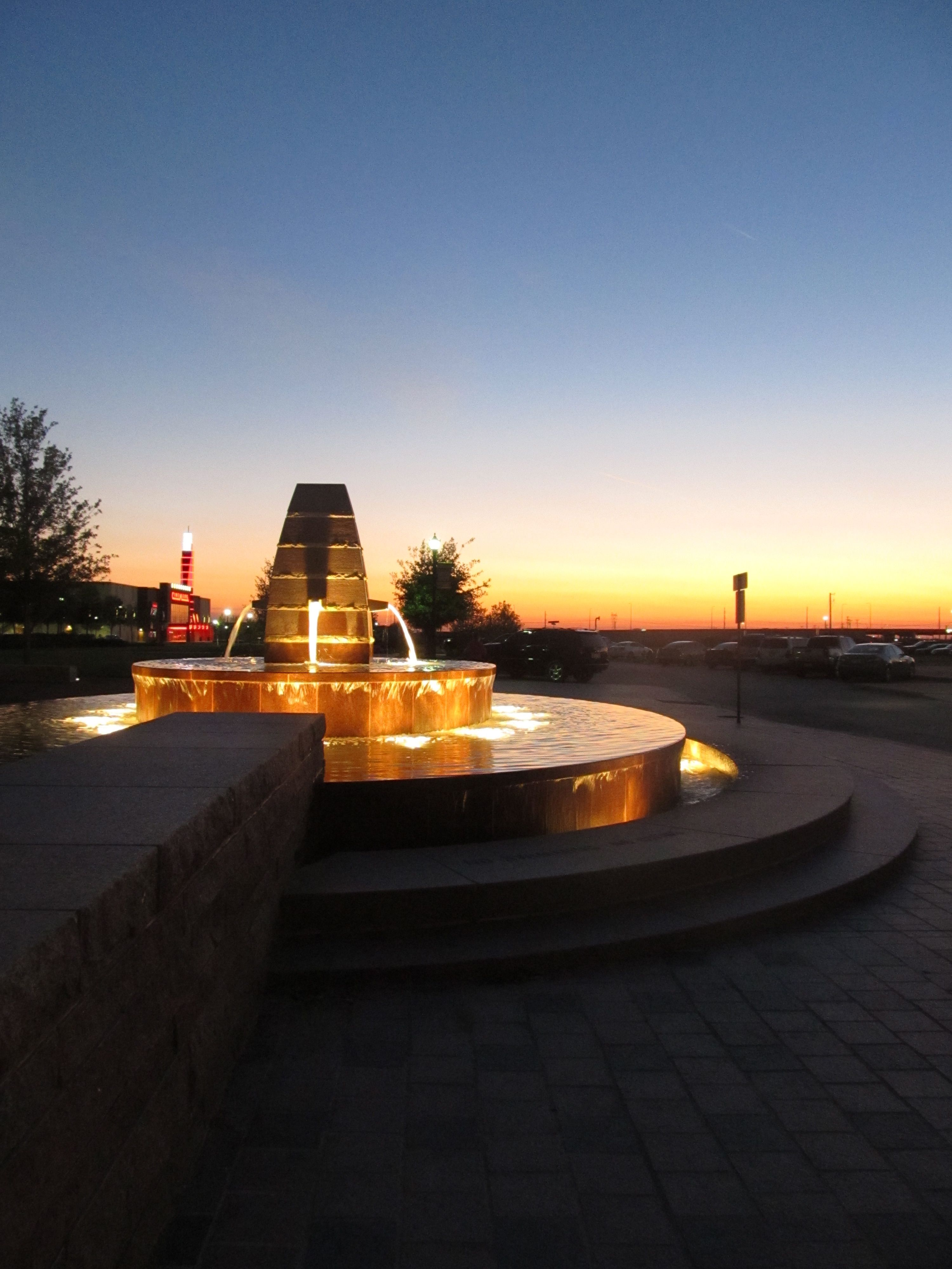 Sunset over City Hall Fountain in Frisco, Texas in 2019