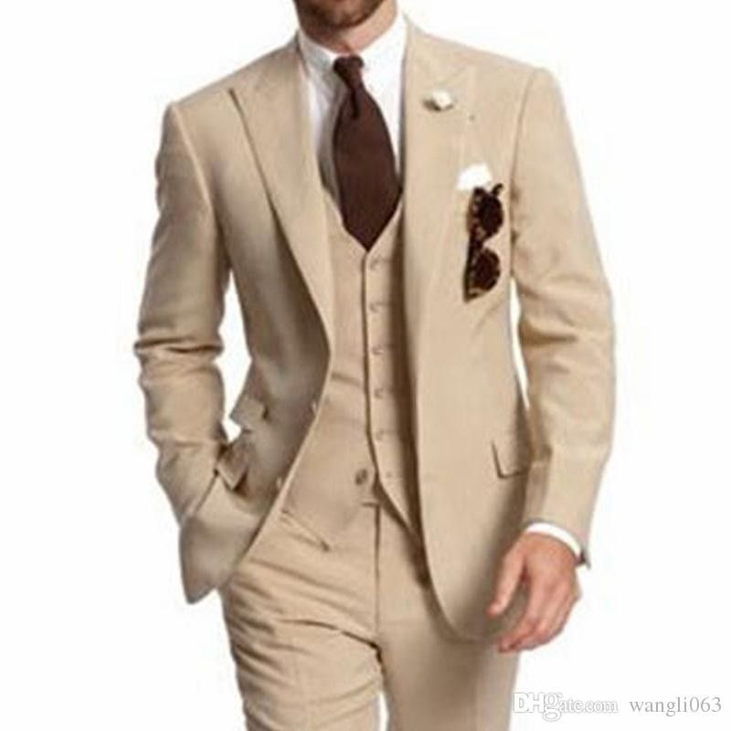 Ivory Crème homme lin smokings Double-breasted marié mariage 3 pieces Costumes