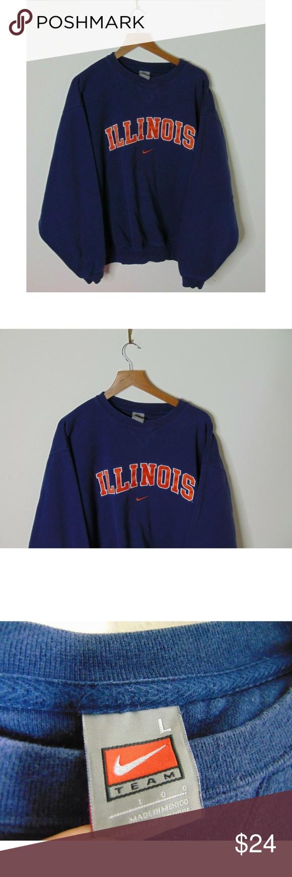 Vintage Nike L Illinois Crewneck Sweatshirt Blue Sweatshirts Vintage Nike Crew Neck Sweatshirt [ 1740 x 580 Pixel ]
