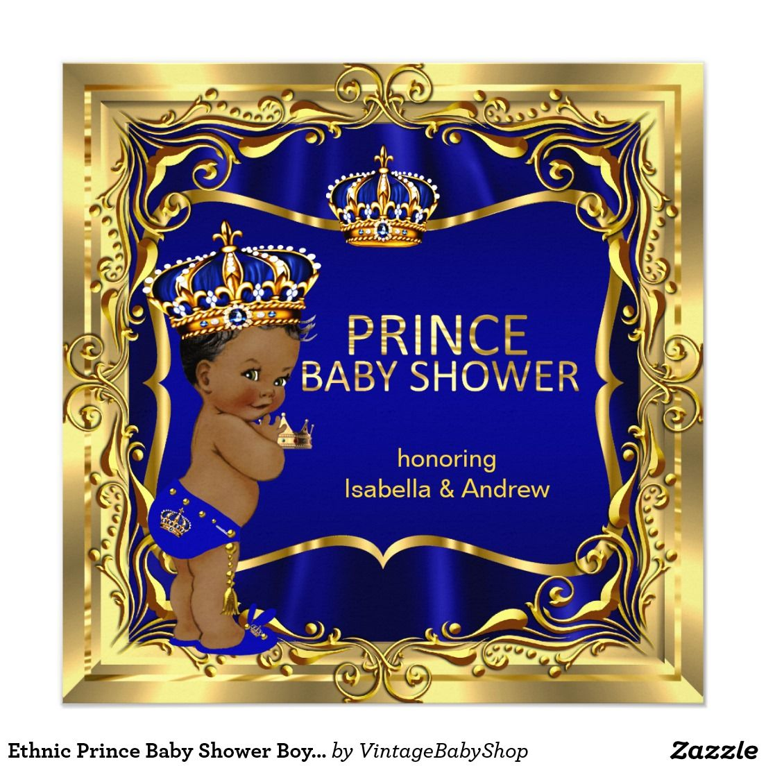 Baby Shops Helensvale Ethnic Prince Baby Shower Boy Blue Gold Invitation Baby Shower
