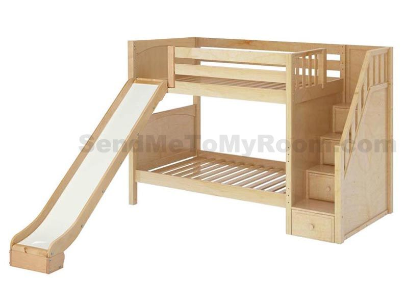 Maxtrix Bunk Bed With Slide And Staircase Give Boys And Girls The Best  Reason For Bedtime; Solid Birch Wood And Available In Chestnut, White Or  Natural.