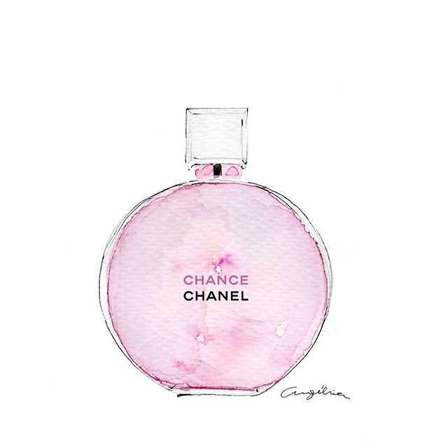 Perfume Chance de @chanelofficial - #illustration #beauty #perfume #pink #watercolor #fashionillustration  #ilustraciondemoda #Chanel