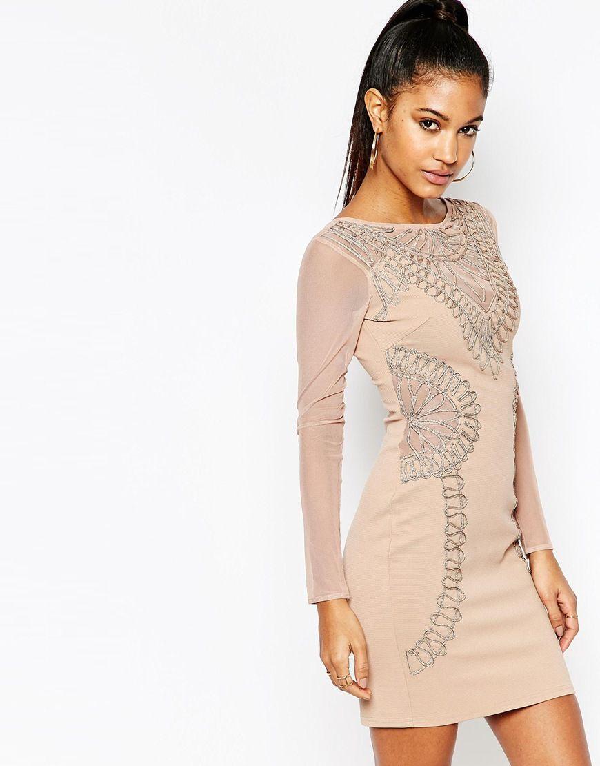 lipsy long sleeve cornelli lace bodycon dress at asos