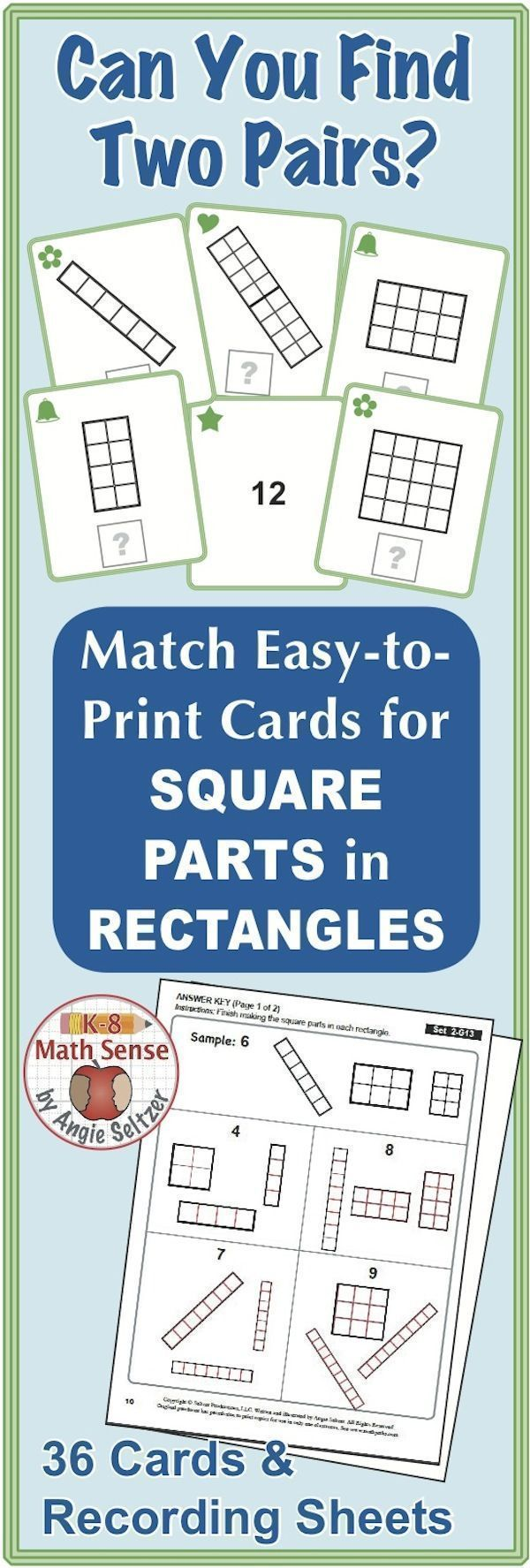 Square Parts in Rectangles: Math Matching Game Cards 2G | Students ...