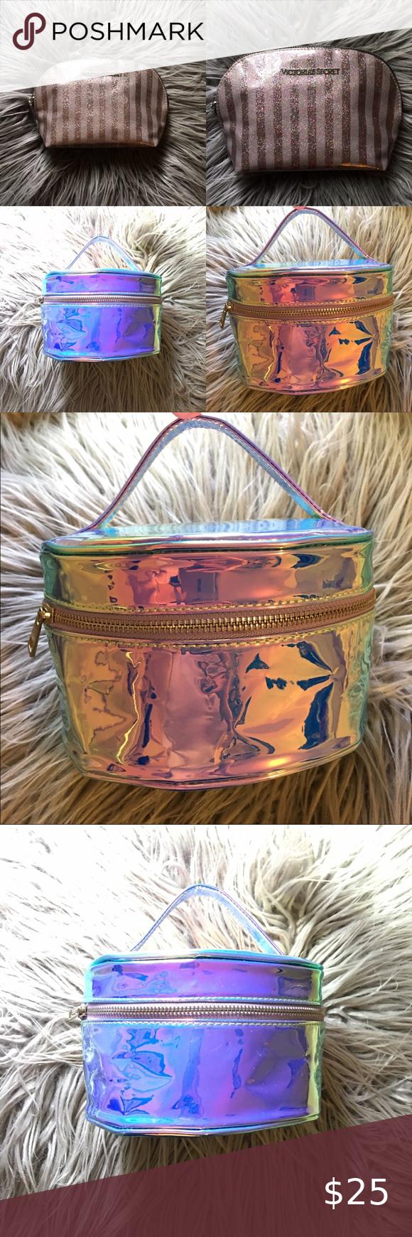 2 medium glitter shiny fluorescence makeup bags in 2020