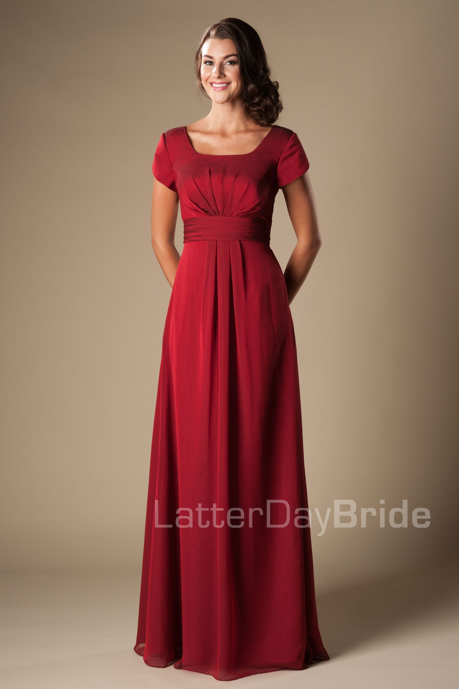 Dark Red Chiffon Bridesmaid Dresses