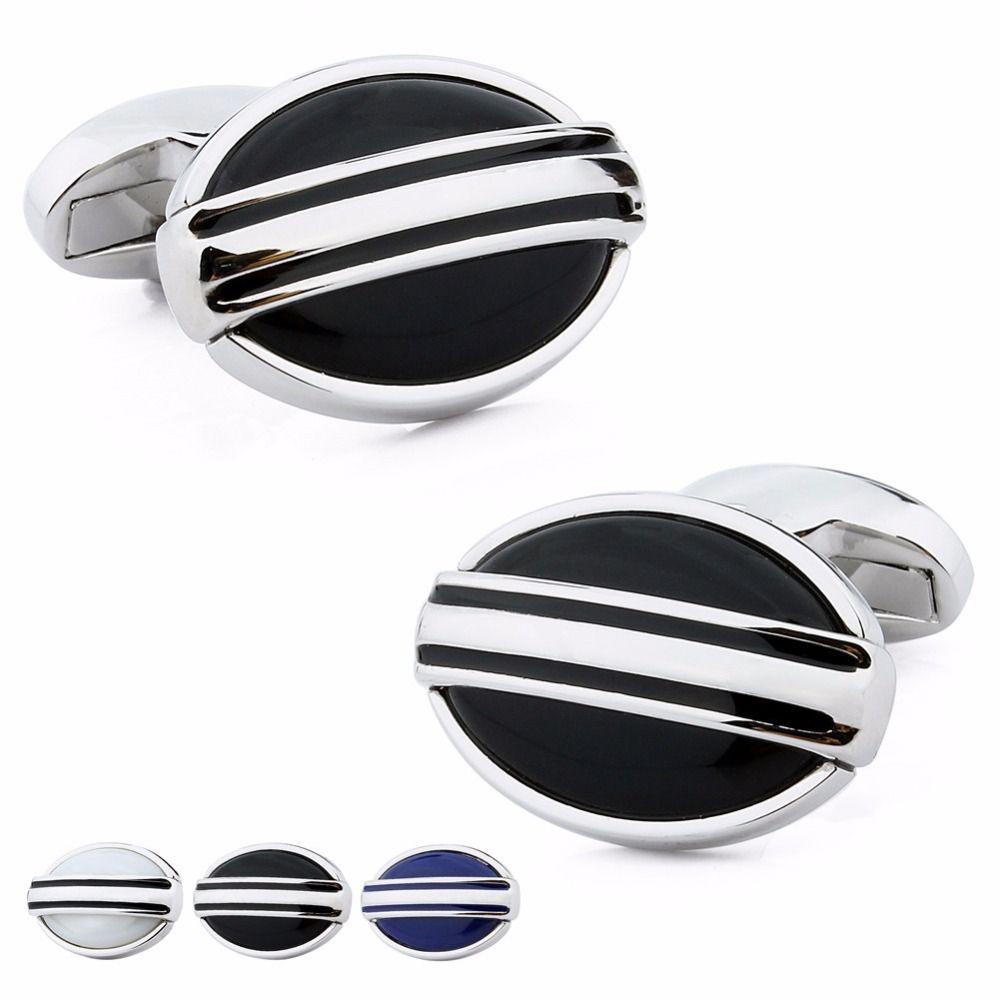 Oval design stone pearl dress shirt cuff links for men wedding