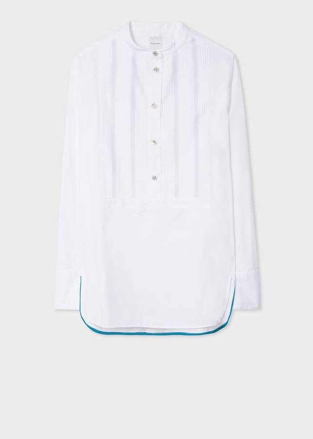 67d6335cb91d Women's White Tunic Shirt With Band-Collar And Tux Bib Detail  #mill#Mason#Thomas