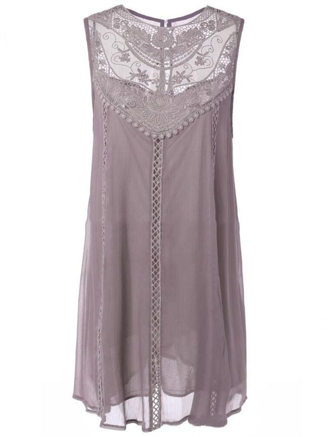 Round Neck Hollow Out Plain Chiffon Shift Dress - fashionMia.com ...