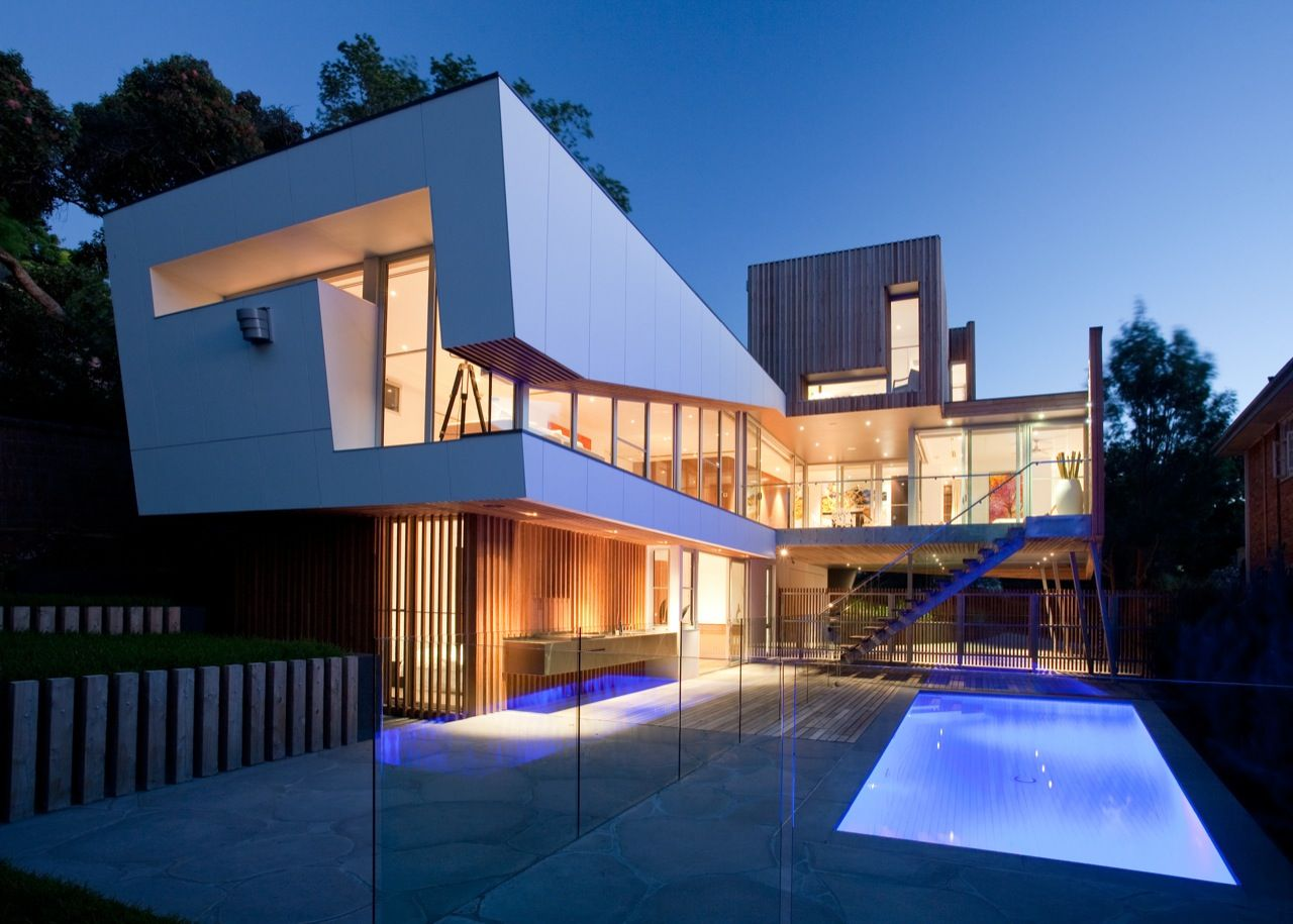 Modern Architecture Melbourne purple pool lighting, terrace, kew house in melbourne | houses