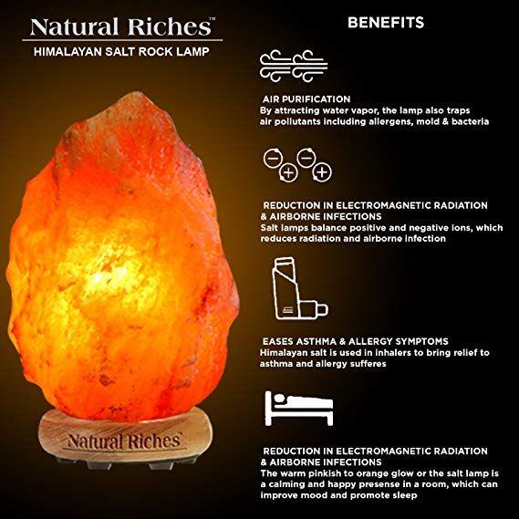 Hand Carved Himalayan Natural Rock Salt Lamp 4 lbs with Wood Base