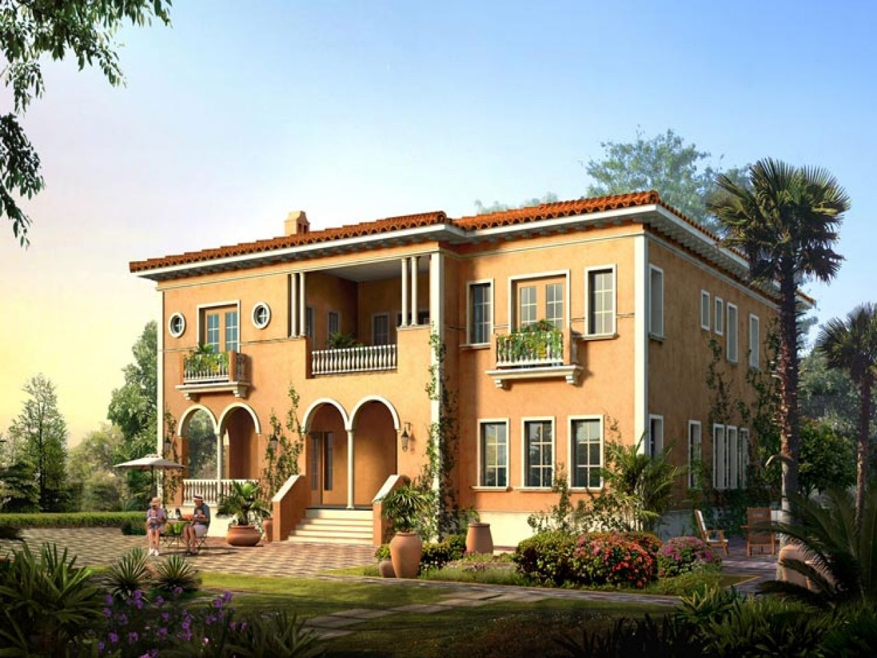 italian villa home designs floor plans house tuscan courtyard plan ...