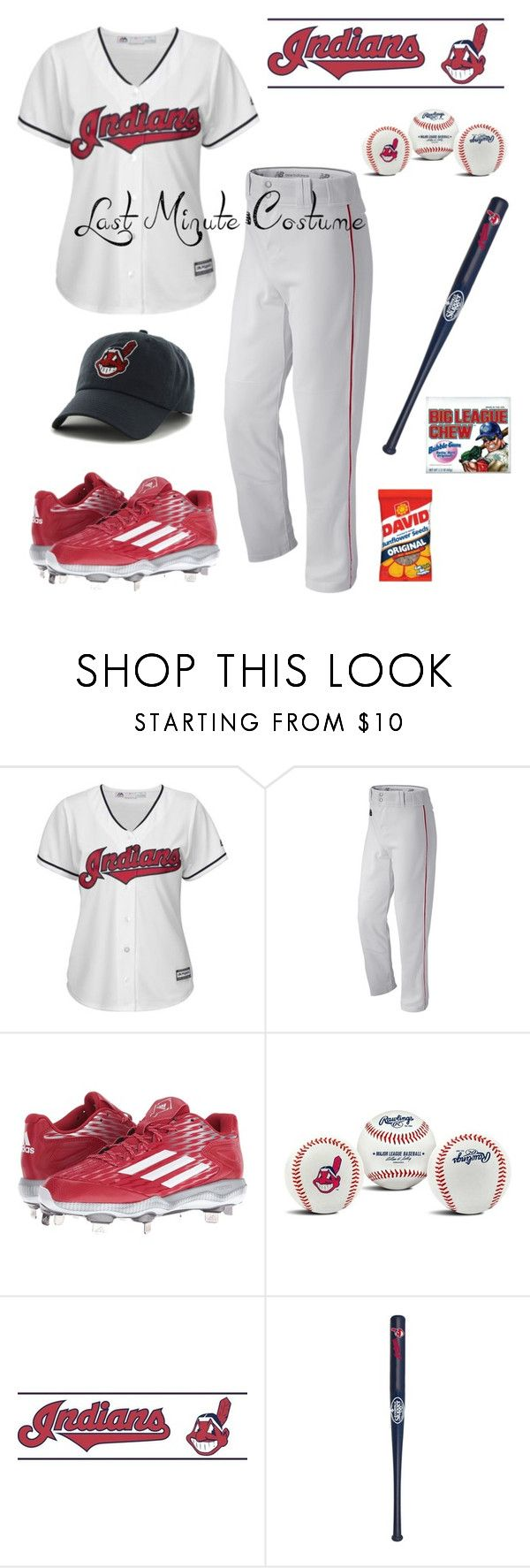 """""""World series baseball player: last minute costume"""" by im-karla-with-a-k ❤ liked on Polyvore featuring Majestic, New Balance, adidas, Rawlings, York Wallcoverings and Louisville Slugger"""