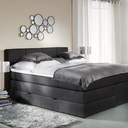 Stilvolle Eleganz fürs Schlafzimmer - Boxspringbett in Dunkelgrau - schlafzimmer billig kaufen