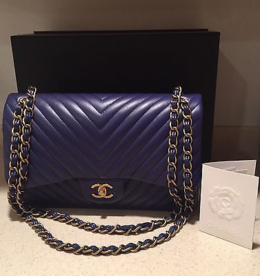 ab3a3992e3541b 2015-Chanel-Blue-Jumbo-Chevron-Quilted-Classic-Flap-Lambskin-Bag -Gold-Hardware