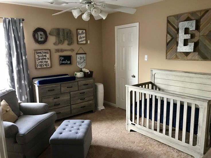 Ethan's Navy Blue and Gray Rustic Nursery images