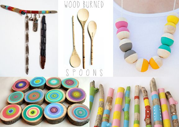 5 things you can made with WOOD.   I like the wooden branch repurposed into a hanger for hanging keys and trinkets.