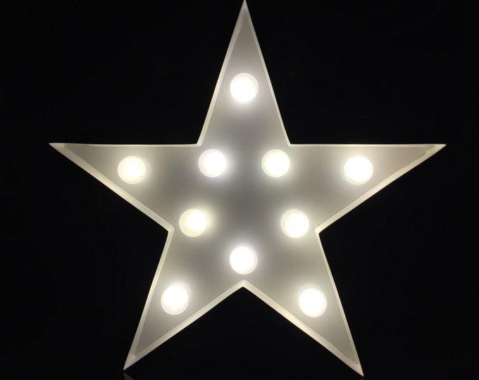 9 12 Red Metal Star Marquee Light Night Light Kids Light Light Up