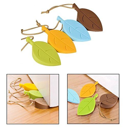 Door StopperUNEGO Decorative Doorstops Rubber Door Wedge Soft ColorLeaf Silicone Secure Doors Finger Protector for Home OfficeSet of 4 PacksYellowBrownBlueGreen FlexibleNonslipHeavy Duty >>> You can get additional details at the image link.Note:It is affiliate link to Amazon.