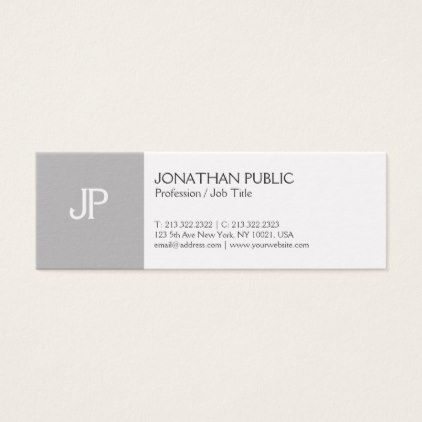 Modern Elegant Creative Monogram Clean Plain Mini Business Card   Architect  Gifts Architects Business Diy Unique