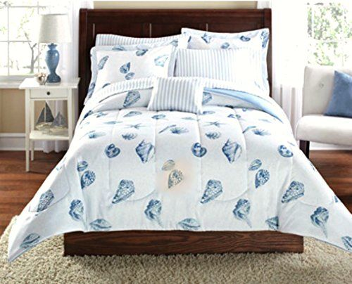 Beach Seashell Pattern Nautical Comforter Set Bed In A